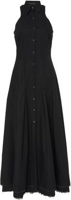 Brandon Maxwell Frayed Cotton-Poplin Maxi Dress
