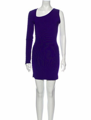 Balmain Scoop Neck Mini Dress Purple