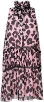 Moschino tiered leopard print halter dress