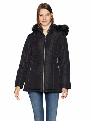 Details Women's Thigh-Length Coat with Cozy-Trimmed Hood