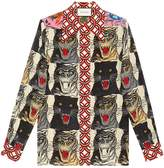 Gucci Tiger Face print silk shirt