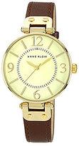 Anne Klein Ivory Dial Brown Leather Strap 3 Hand Watch