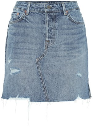 GRLFRND The Blaire high-rise denim miniskirt