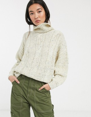 Monki cable knit roll neck sweater in off white