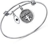 "Unwritten Blessed"" Cross Disc Charm Bangle Bracelet in Stainless Steel"