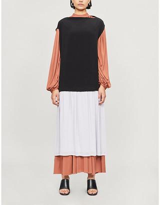 Y's Contrast boat-neck crepe dress