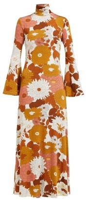 Dodo Bar Or Brigitte Floral Print Roll Neck Twill Dress - Womens - Brown Multi