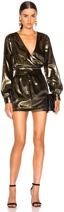 Frame Metallic Velvet Dress in Gold | FWRD