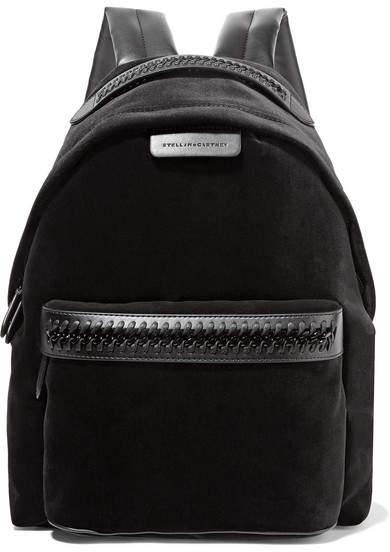 Stella McCartney The Falabella Go Faux Leather-trimmed Velvet Backpack