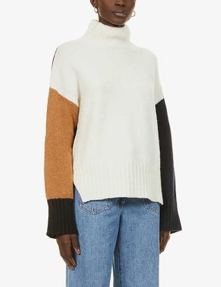 Frame Colour-block wool-blend jumper