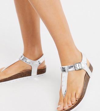 London Rebel wide fit t bar flat sandals in silver