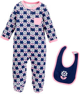 Offspring Flower Footie & Bib Set (Baby Girls)