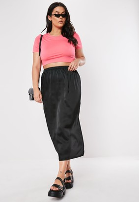 Missguided Plus Size Black Satin Slip Skirt