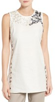 Nic+Zoe Women's Embellished Linen Blend Top