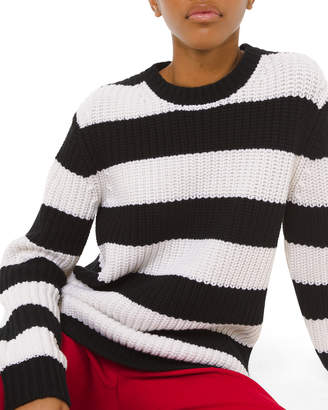 Michael Kors Cashmere Striped Shaker-Stitched Sweater