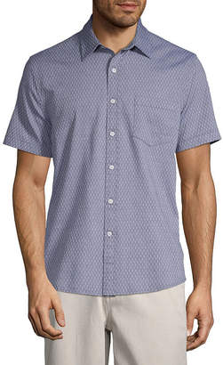 ST. JOHN'S BAY No Tuck Mens Short Sleeve Button-Front Shirt
