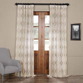 Exclusive Fabrics & Furnishing Suez Embroidered Faux Linen Sheer Curtain Panel