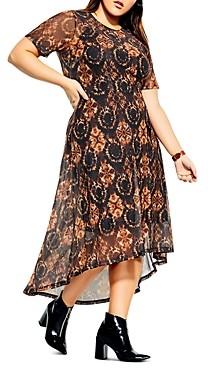 City Chic Plus Printed Short-Sleeve Dress