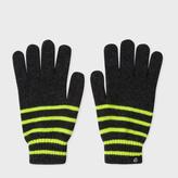Paul Smith Men's Neon Yellow Stripe Lambswool Gloves