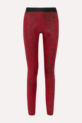 Ann Demeulemeester Coated Leather Leggings - Red