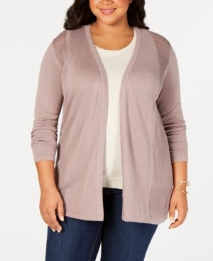 Belldini Belle by Plus Size Pointelle Open-Front Cardigan