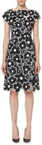 Carolina Herrera Floral Cutout Cap-Sleeve Cocktail Dress, Black/White