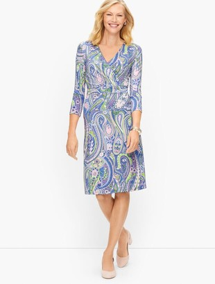 Talbots Jersey Faux Wrap Paisley Dress