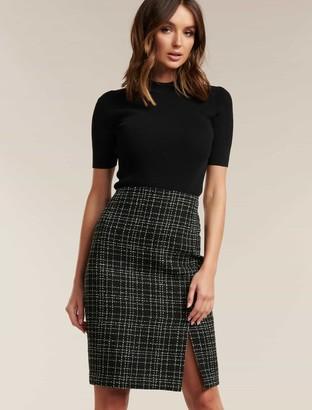 Forever New Amber Boucle Pencil Skirt - Black Boucle - 10