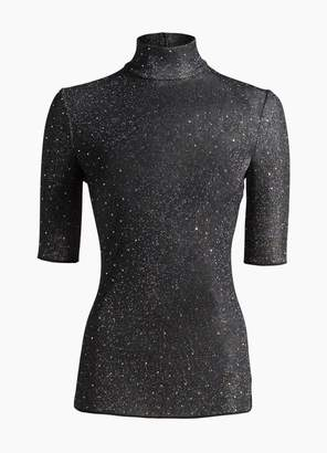 St. John Diamond Sparkle Knit Elbow Sleeve Top