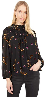 Madewell Printed Smocked Neck Top (Fresia Floral Almost) Women's Clothing