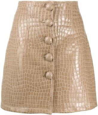 Andamane Crocodile-Effect Button-Down Mini Skirt