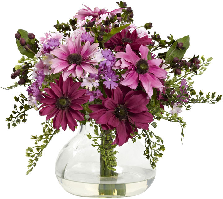 Asstd National Brand Nearly Natural Mixed Daisy Floral Arrangement With Vase