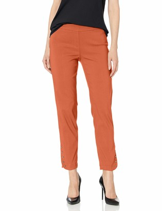 Slim Sation SLIM-SATION Women's Pull On Solid Ankle Pant with Faux Front Packets and Rivets