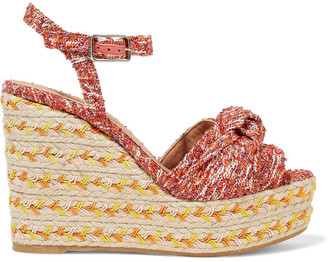 Castaner Janet Knotted Boucle Wedge Espadrille Sandals