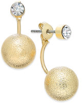 ABS by Allen Schwartz Gold-Toned Crystal and Ball Front and Back Earrings