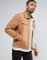 Asos Wool Mix Jacket With Fleece Lining In Camel