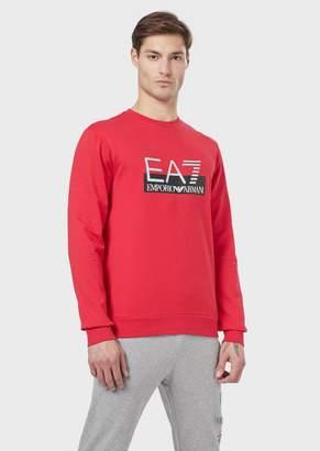 Emporio Armani Train Logo Sweatshirt In Pure Cotton With Ea7 Logo