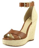 Vince Camuto Maurita Women Open Toe Leather Brown Wedge Sandal.