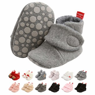 EDOTON Newborn Baby Boys Girls Soft Fleece Booties Stay On Infant Slippers Socks Shoes Non Slip Gripper Toddler First Walkers Winter Ankle Crib Shoes 0-18 Months