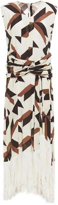 Rokh Twist-front Fringed Printed Silk-crepe Maxi Dress