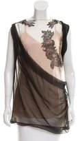 Alberta Ferretti Lace-Accented Sleeveless Top