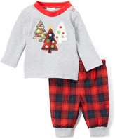Baby Essentials Gray & Red Christmas Tree Long-Sleeve Tee & Pants - Infant