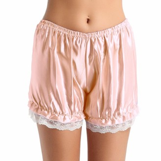 iEFiEL Womens Frilly Satin Lace Panties Shiny Bloomers Shorts Cute Security Pants Black One Size