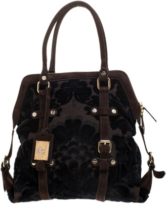 Roberto Cavalli Brown/Black Velvet and Suede Buckle Satchel