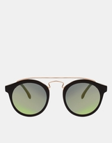 Asos Round Sunglasses with Metal Bridge Detail and Mirrored Lens