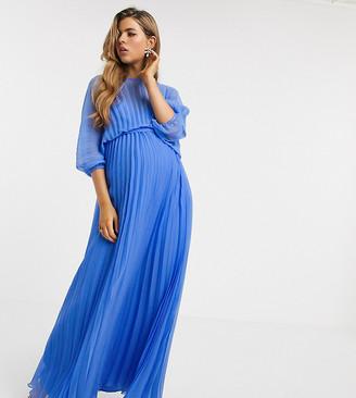 Asos DESIGN Maternity blouson pleated maxi dress with self belt