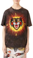 Gucci Embroidered Cat Jersey T-Shirt, Black