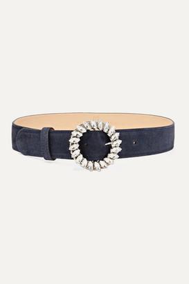 Black & Brown Crystal-embellished Suede Waist Belt - Navy