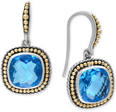 Effy Blue Topaz (11-9/10 ct. t.w.) Drop Earrings in Sterling Silver with 18k Gold Accents