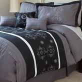 Lavish Home Julia Black Embroidered King Comforter Set (7-Piece)